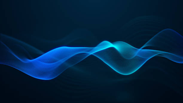 beautiful abstract wave technology digital network background with blue light digital effect corporate concept - motivo a onde foto e immagini stock