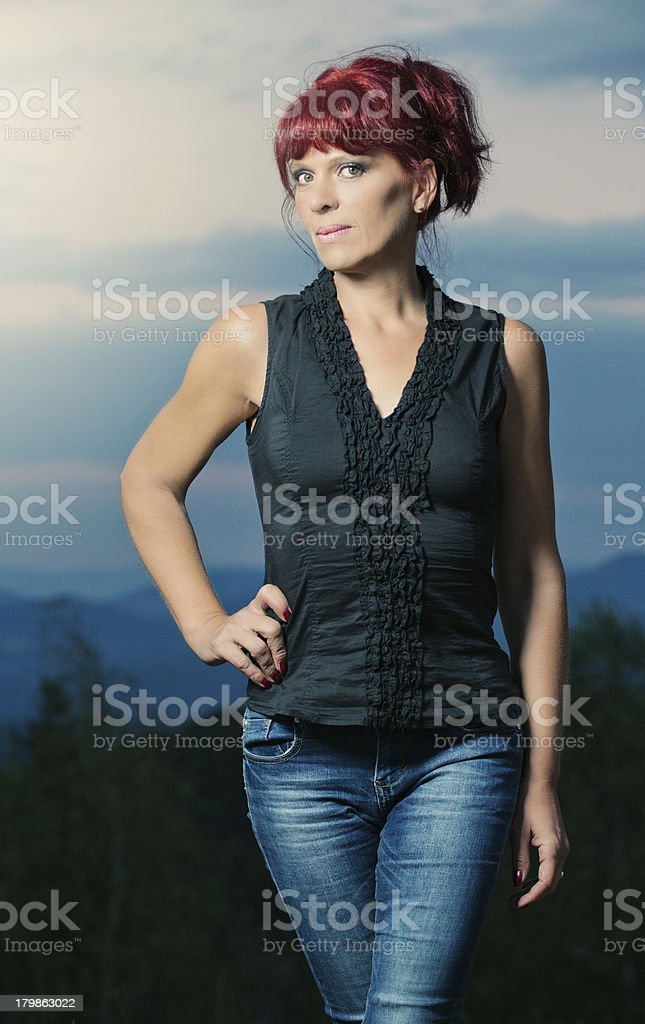 Beautiful adult red head royalty-free stock photo
