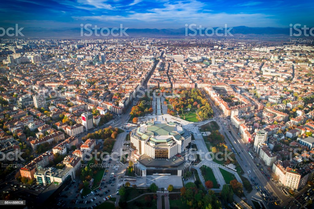 Beautiful aerial drone shot of national palace of culture in Sofia city downtown in autumn stock photo