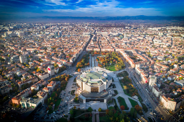 Beautiful aerial drone shot of national palace of culture in Sofia city downtown in autumn Amazing wide aerial drone shot of national palace of culture in Sofia city downtown in autumn.  The shot was taken near sunset with DJI Phantom 4 Pro drone / quadcopter. bulgaria stock pictures, royalty-free photos & images