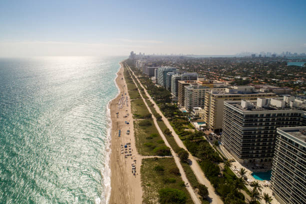 beautiful aerial image of miami beach bright sunny day - south stock pictures, royalty-free photos & images
