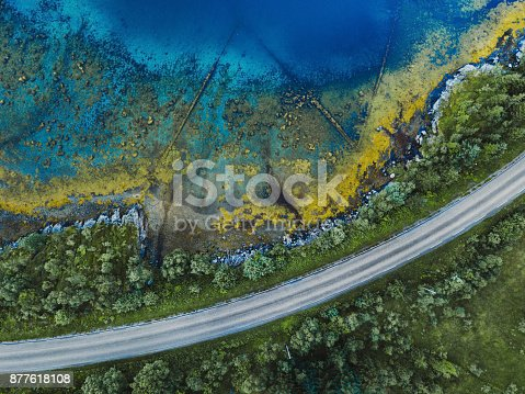 istock beautiful aerial landscape, road near water in Norway 877618108