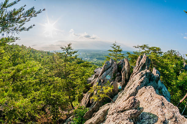 beautiful aerial landscape views from crowders mountain near gas stock photo