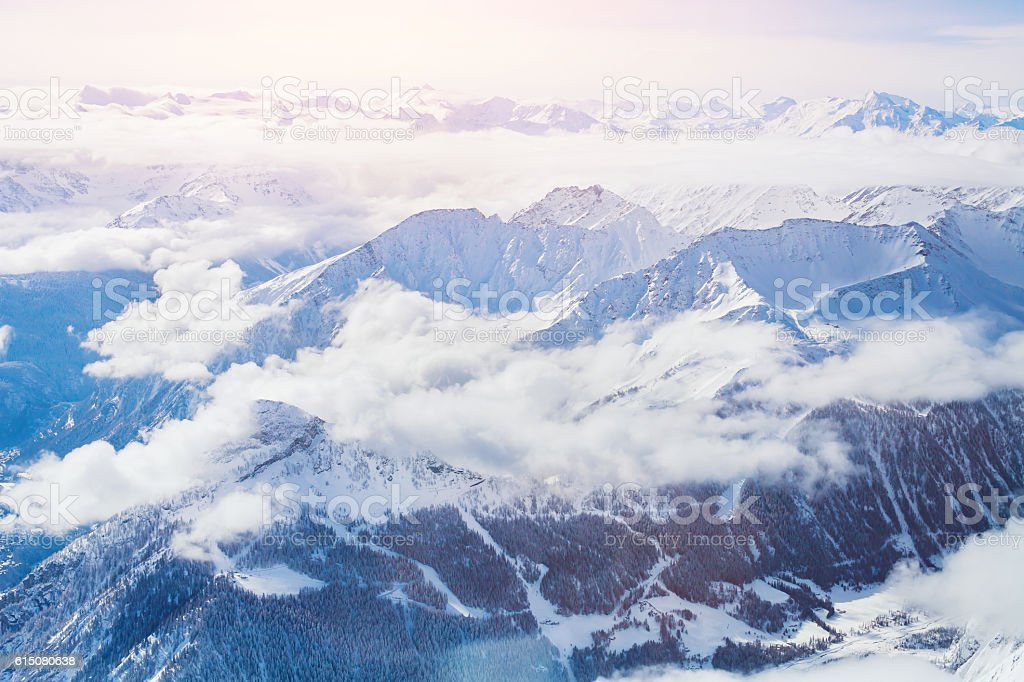 beautiful aerial landscape, winter mountains, Alps stock photo