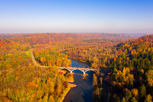 Beautiful aerial morning view of the golden autumn in Sigulda, Latvia.