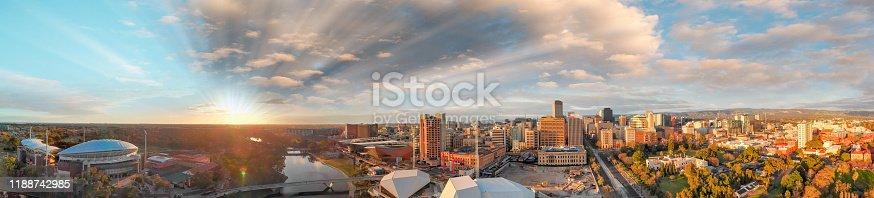 Beautiful aerial panoramic view of Adelaide at dusk, South Australia.