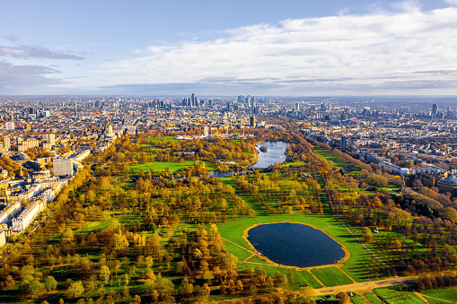 Beautiful aerial panoramic view of the Hyde park in London