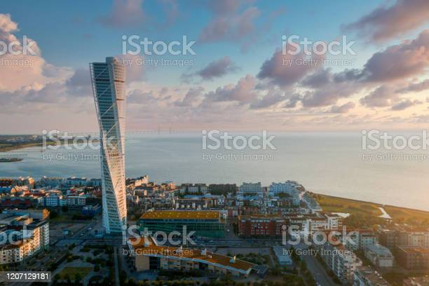 Photo of Beautiful aerial panoramic view of the Malmo city in Sweden