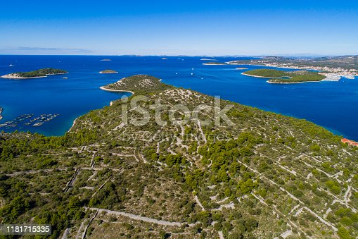 Beautiful aerial photo of Razanj in Dalmatia, Croatia. Nice nature and landscape on sunny summer day at Adriatic Sea and coast. Lovely seascape and outdoors shoot with drone from above.
