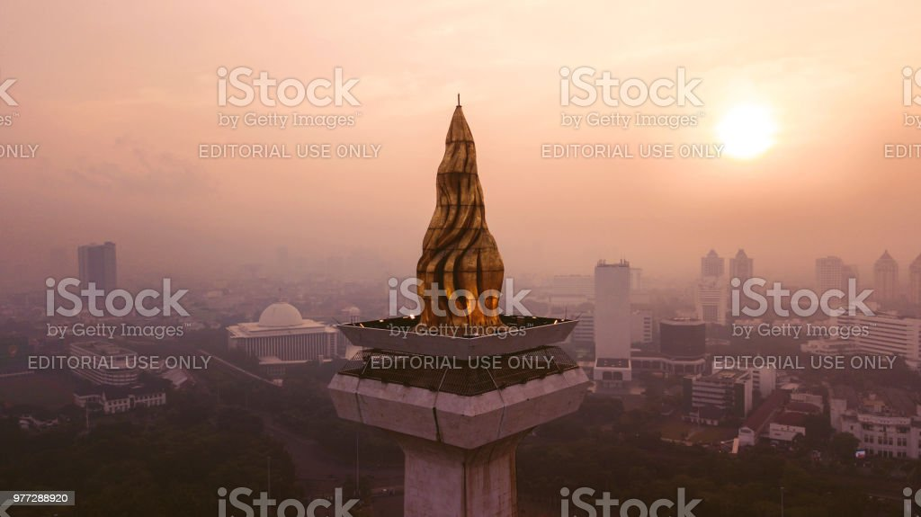 Beautiful aerial sunset view of National Monument stock photo