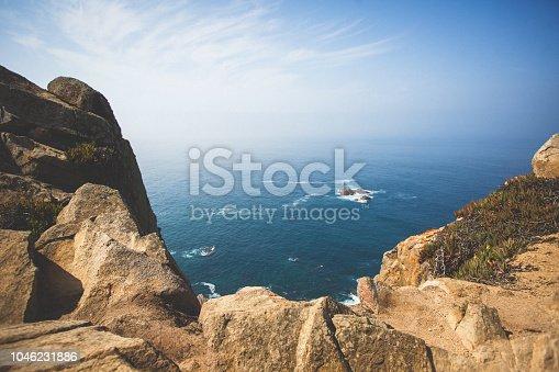 istock Beautiful aerial vibrant view of Capo Da Roca, the most western point of Europe, Portuguese municipality of Sintra, near Azoia, district of Lisbon, Serra de Sintra, Portugal 1046231886