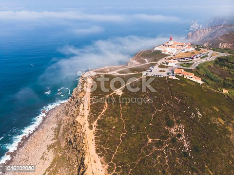 istock Beautiful aerial vibrant view of Capo Da Roca, the most western point of Europe, Portuguese municipality of Sintra, near Azoia, district of Lisbon, Serra de Sintra, Portugal, shot from drone 1046232050