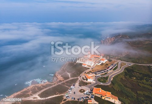 istock Beautiful aerial vibrant view of Capo Da Roca, the most western point of Europe, Portuguese municipality of Sintra, near Azoia, district of Lisbon, Serra de Sintra, Portugal, shot from drone 1046232104