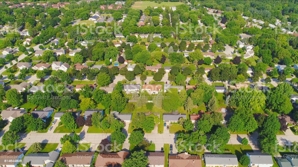 Beautiful aerial view, neighborhood of ranch homes stock photo