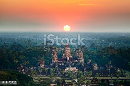 Beautiful aerial view  of Angkor Wat at sunrise. Siem Reap, Cambodia