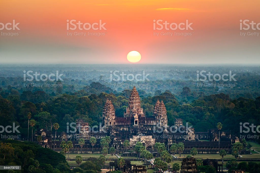 Beautiful aerial view  of Angkor Wat at sunrise ,Cambodia stock photo