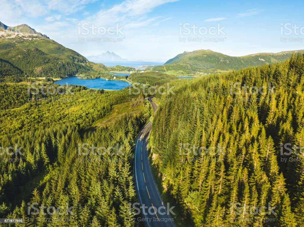 beautiful aerial view of asphalt road in the forest stock photo