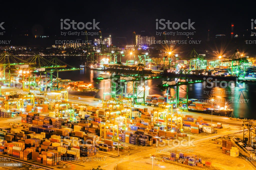 Beautiful Aerial View Of Busiest Asian Cargo Port With