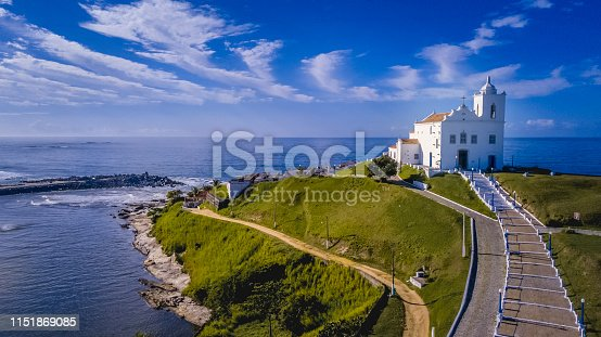 istock Beautiful aerial view of church and beach 1151869085