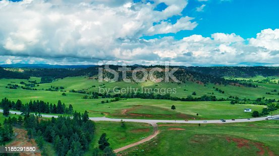 Beautiful aerial view of countryside in summer season. Usa