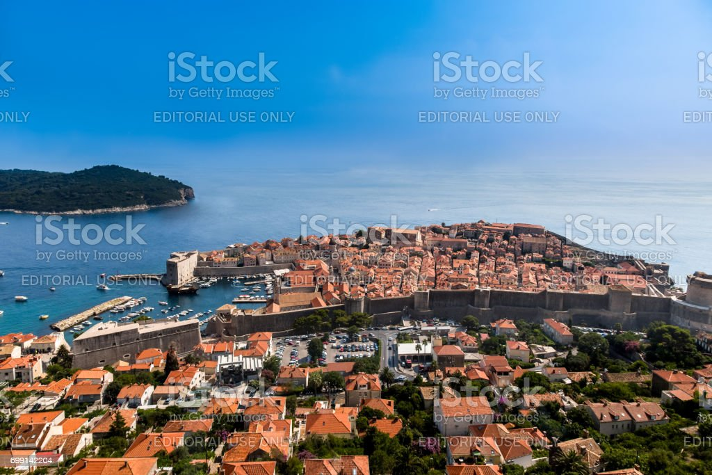 Beautiful aerial view of Dubrovnik Croatia with the Old Town. stock photo