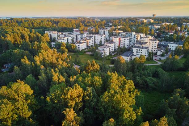 vacker utsikt över esbo - drone helsinki bildbanksfoton och bilder