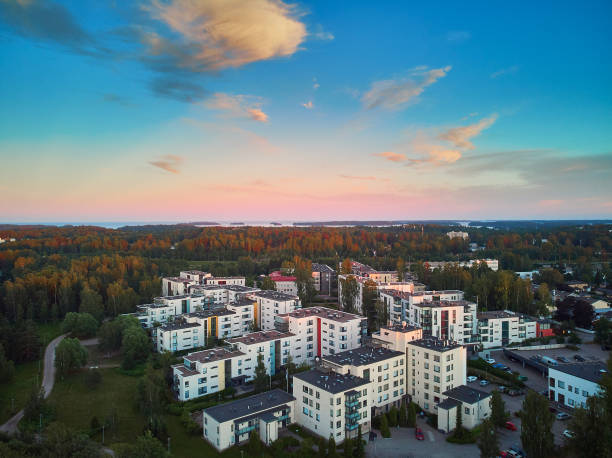 Beautiful aerial view of Espoo stock photo