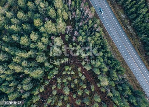 beautiful Aerial view of highway and overpass with green woods in Finland near Helsinki