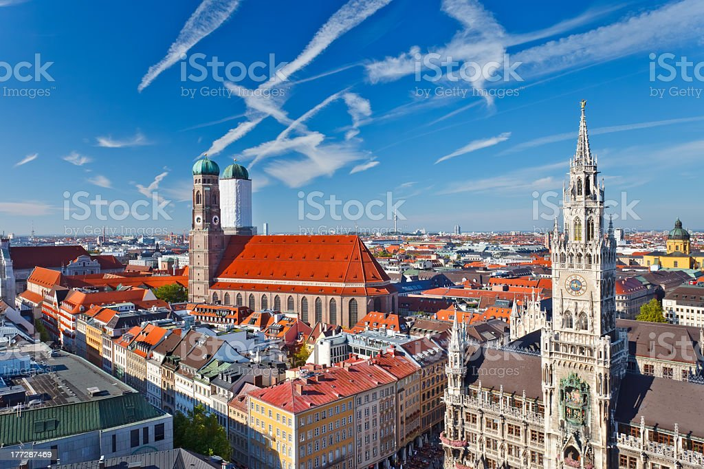 Beautiful aerial view of Munchen while drinking wine  stock photo