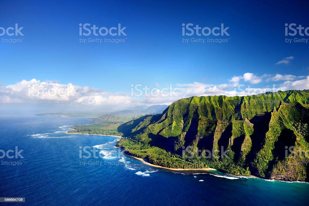 Beautiful aerial view of Na Pali coast stock photo