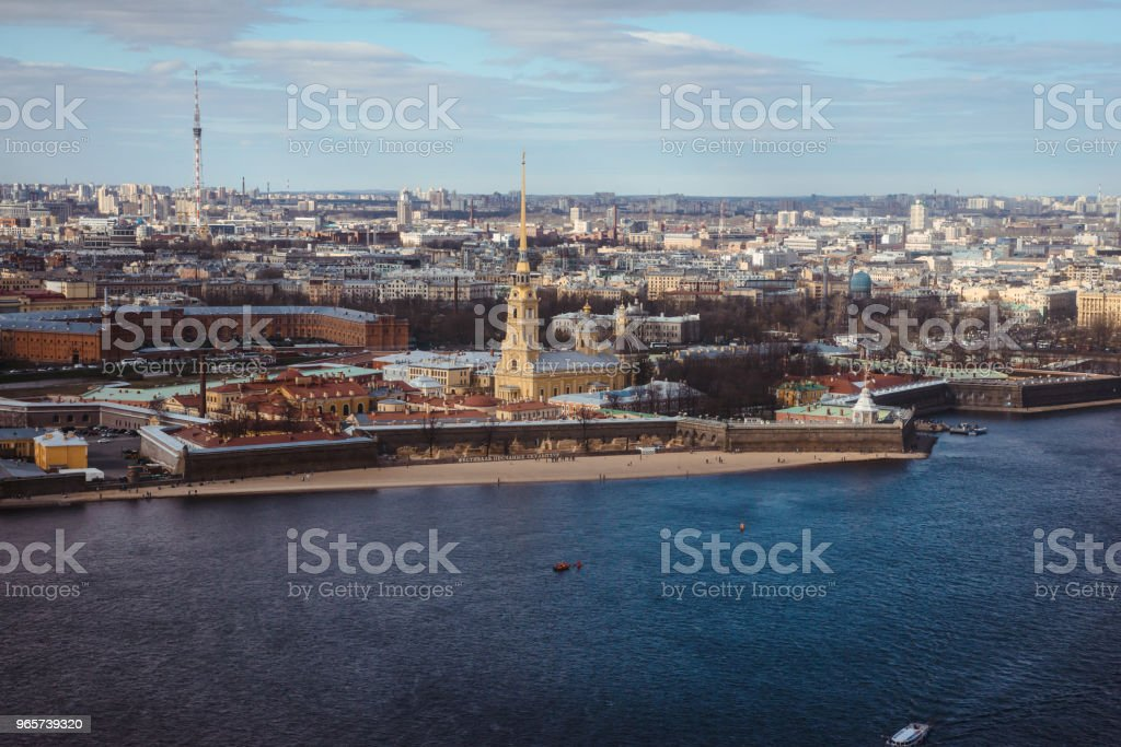 Beautiful aerial view of Saint-Petersburg, Russia, The Vasilievskiy Island, Isaacs Cathedral, Admiralty, Palace Bridge, cityscape and scenery the city, shot from helicopter. Travel Russia tourism - Стоковые фото Автомобиль роялти-фри