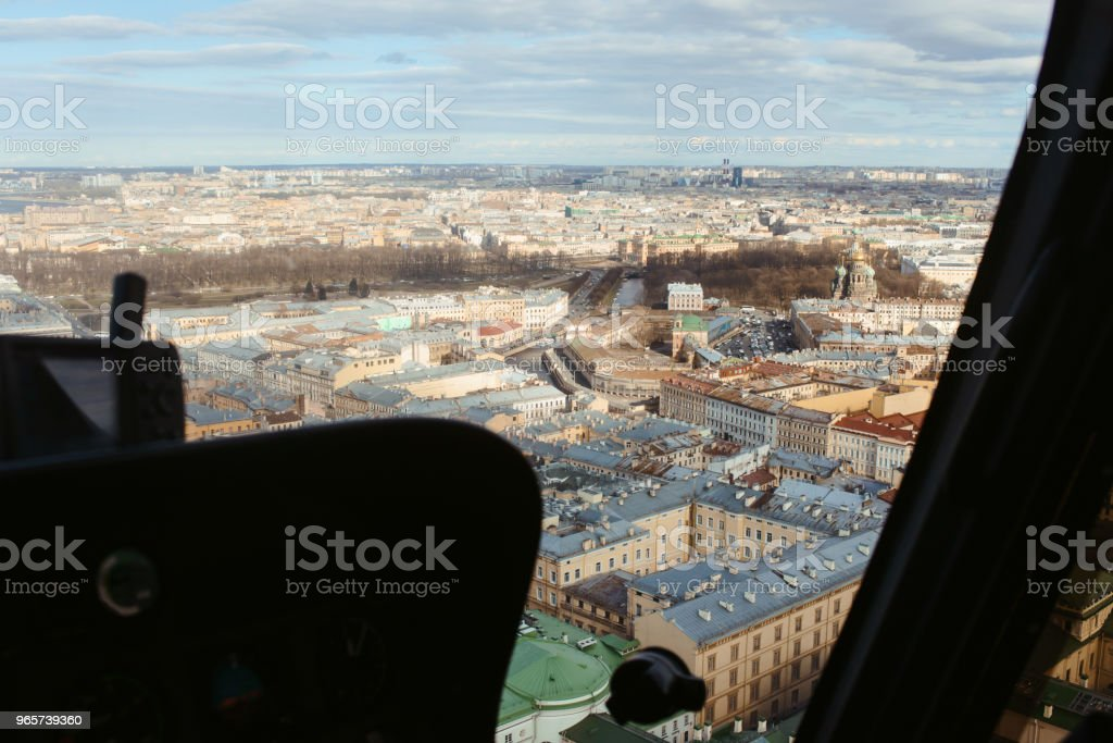 Beautiful aerial view of Saint-Petersburg, Russia, The Vasilievskiy Island, Isaacs Cathedral, Admiralty, Palace Bridge, cityscape and scenery the city, shot from helicopter. Travel Russia tourism - Royalty-free Aerial View Stock Photo