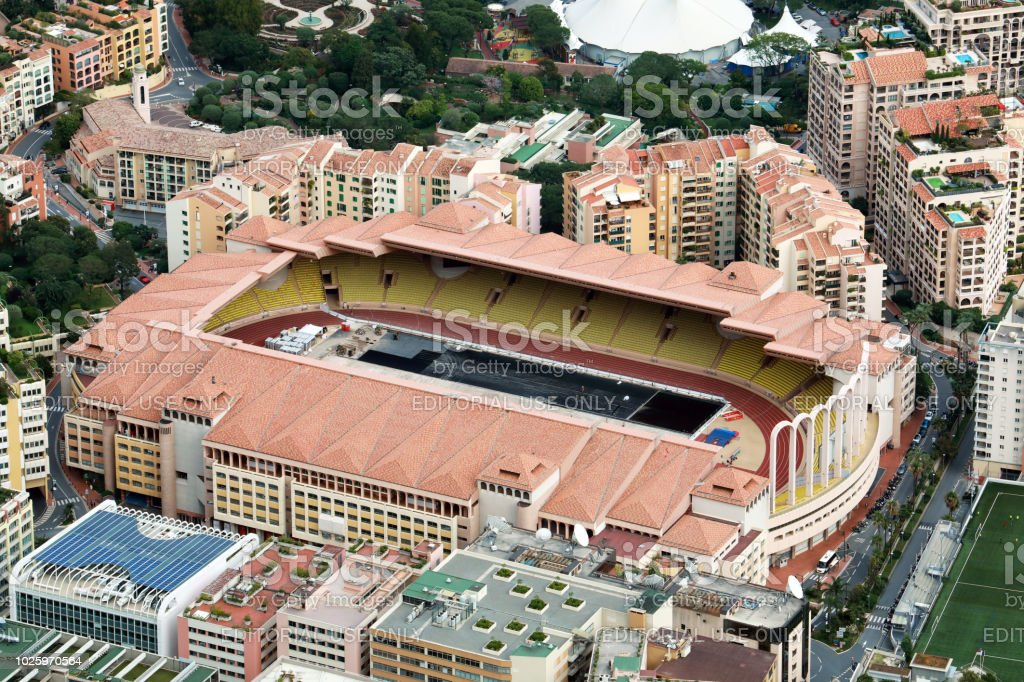 Beautiful Aerial View Of Stade Louis II And Fontvieille stock photo