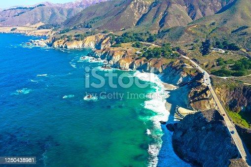Aerial panoramic view of historic Bixby Creek Bridge along world famous Pacific Coast Highway, California