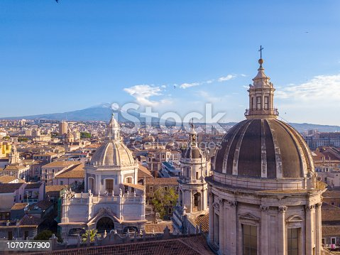 istock Beautiful aerial view of the Catania city near the main Cathedral 1070757900
