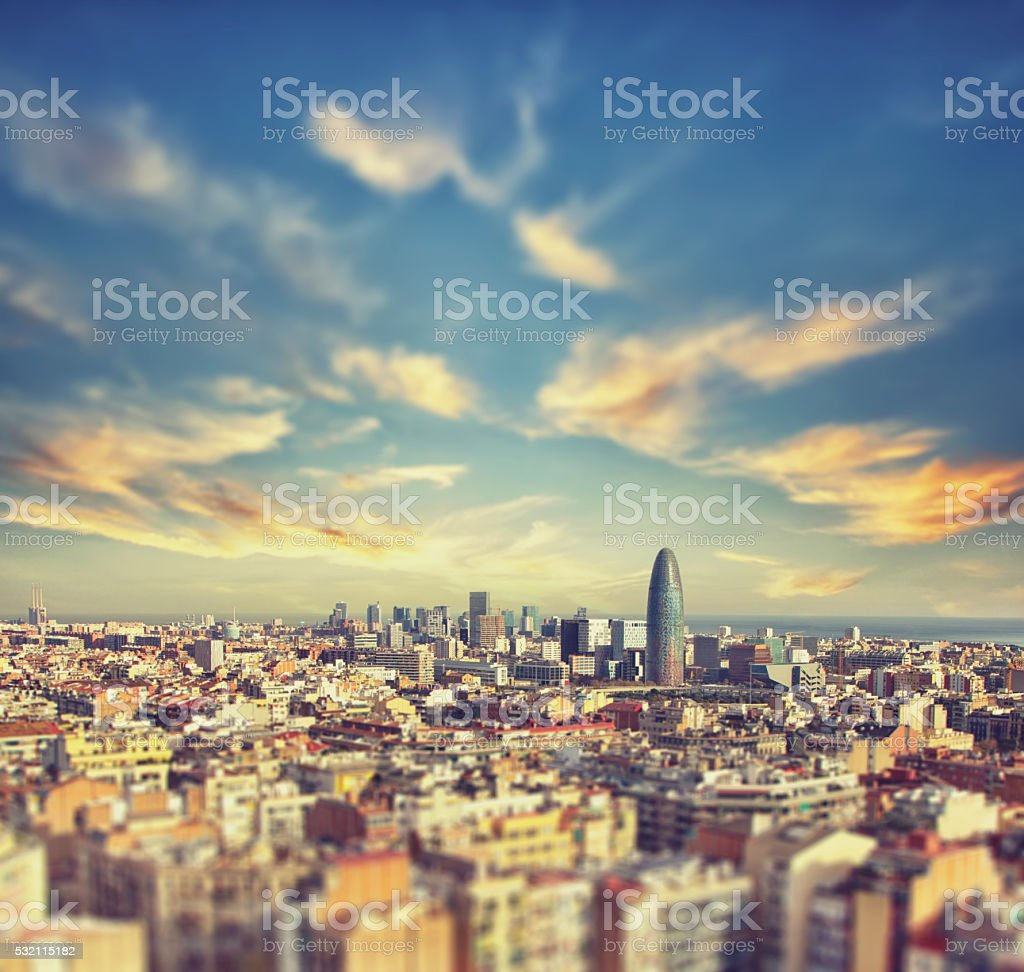 Beautiful Aerial view of the center of Barcelona stock photo