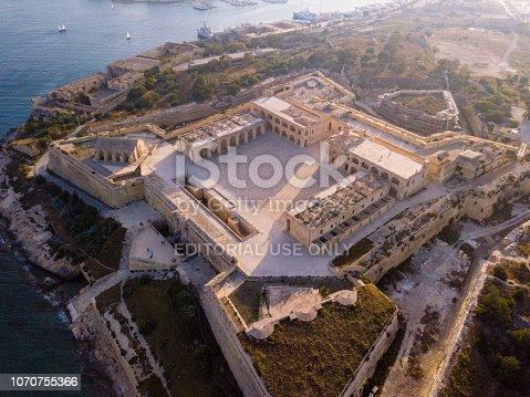 May 01, 2018. Malta. Beautiful aerial view of the Manoel island fortress near Valletta on Malta.