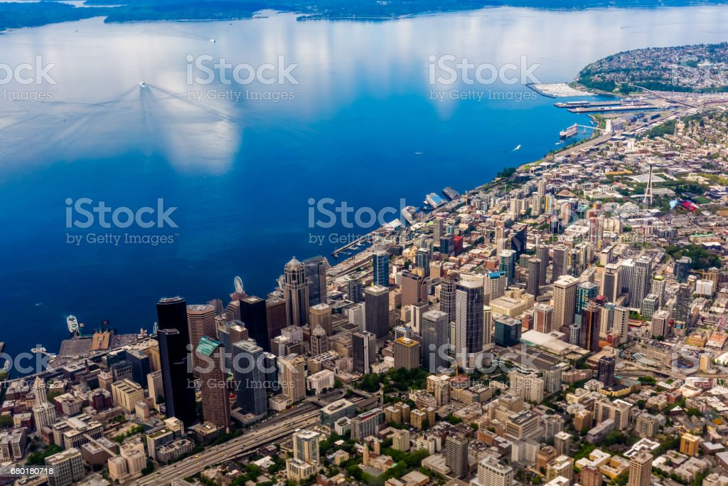 Beautiful Aerial View of the Pacific Northwestern City of Seattle, Washington, USA. stock photo