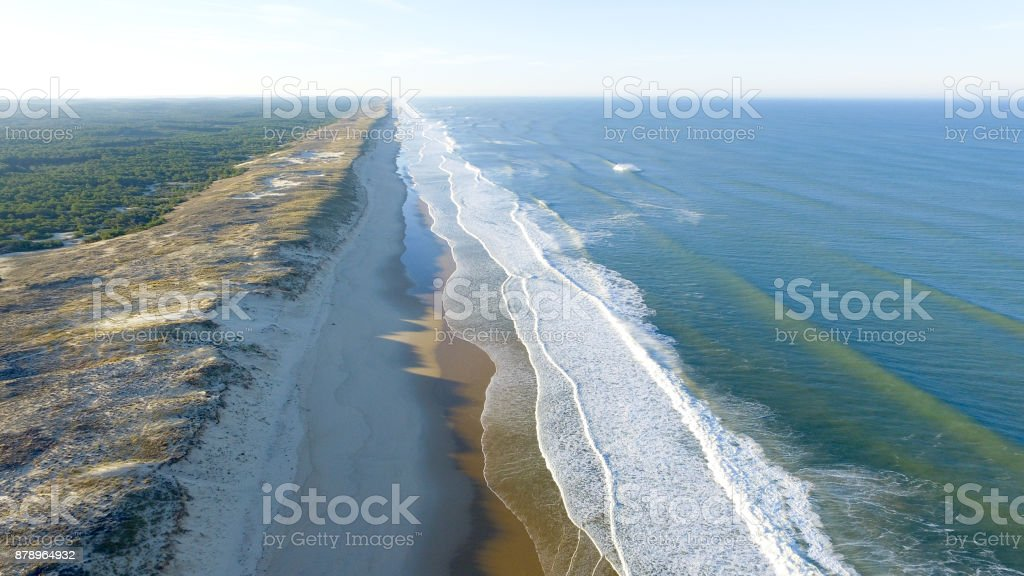 Beautiful aerial view of the wild coast of south west france bordered of bordeaux stock photo