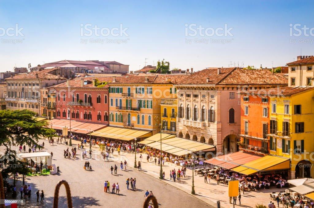 Beautiful aerial view of Verona, Veneto region, Italy. stock photo