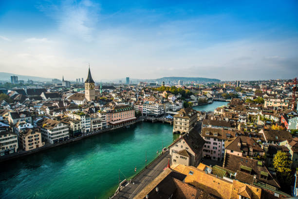 Beautiful Aerial View Of Zurich, Switzerland Beautiful Aerial View Of Zurich, Switzerland fraumunster stock pictures, royalty-free photos & images