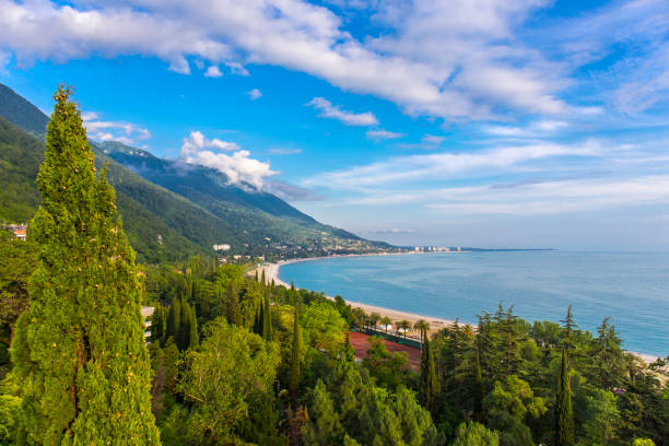 Beautiful aerial view on Black Sea coastline Beautiful aerial view on Black Sea coastline, Abkhazia sochi stock pictures, royalty-free photos & images