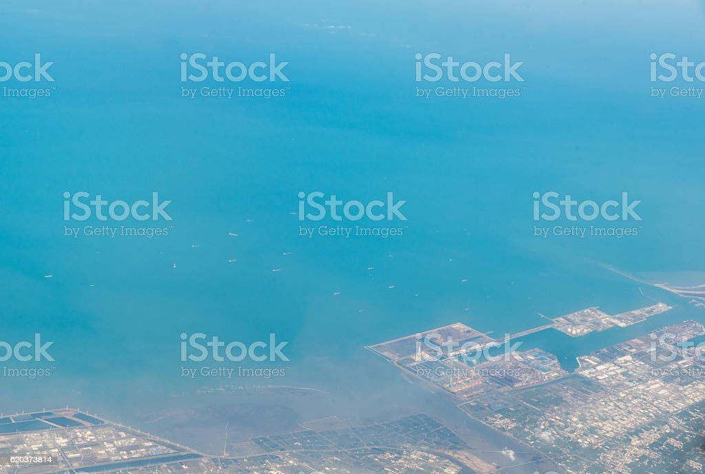 Beautiful aerial view over an Island from the airplane zbiór zdjęć royalty-free