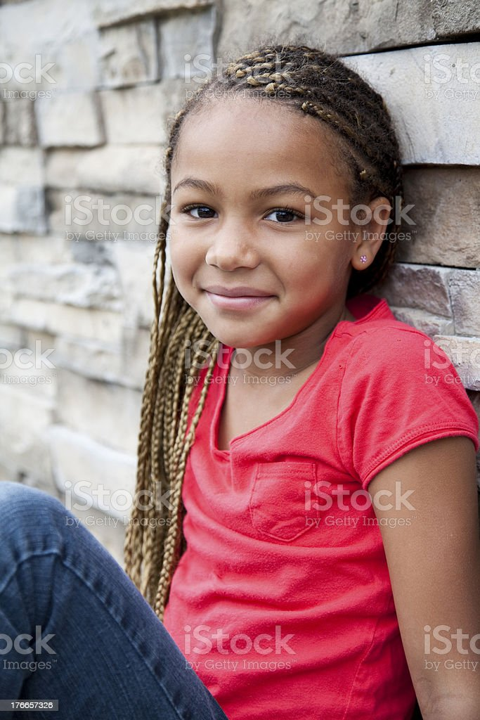 Beautiful African American 6 year old outside royalty-free stock photo