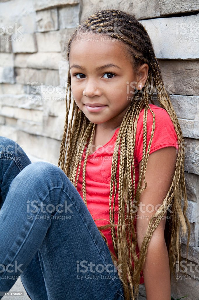 Beautiful African American 6 year old royalty-free stock photo