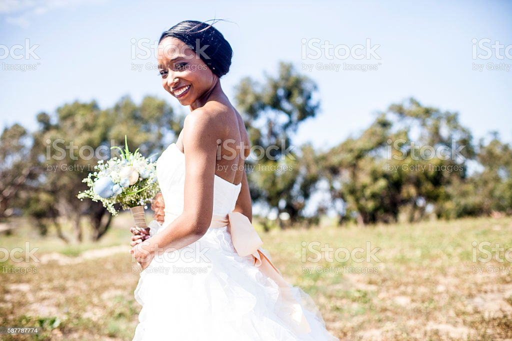 Beautiful African American Bride stock photo