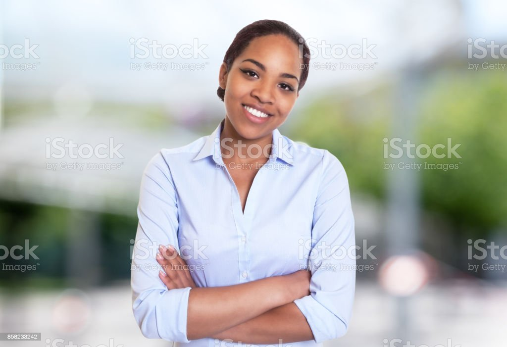 Beautiful african american businesswoman stock photo