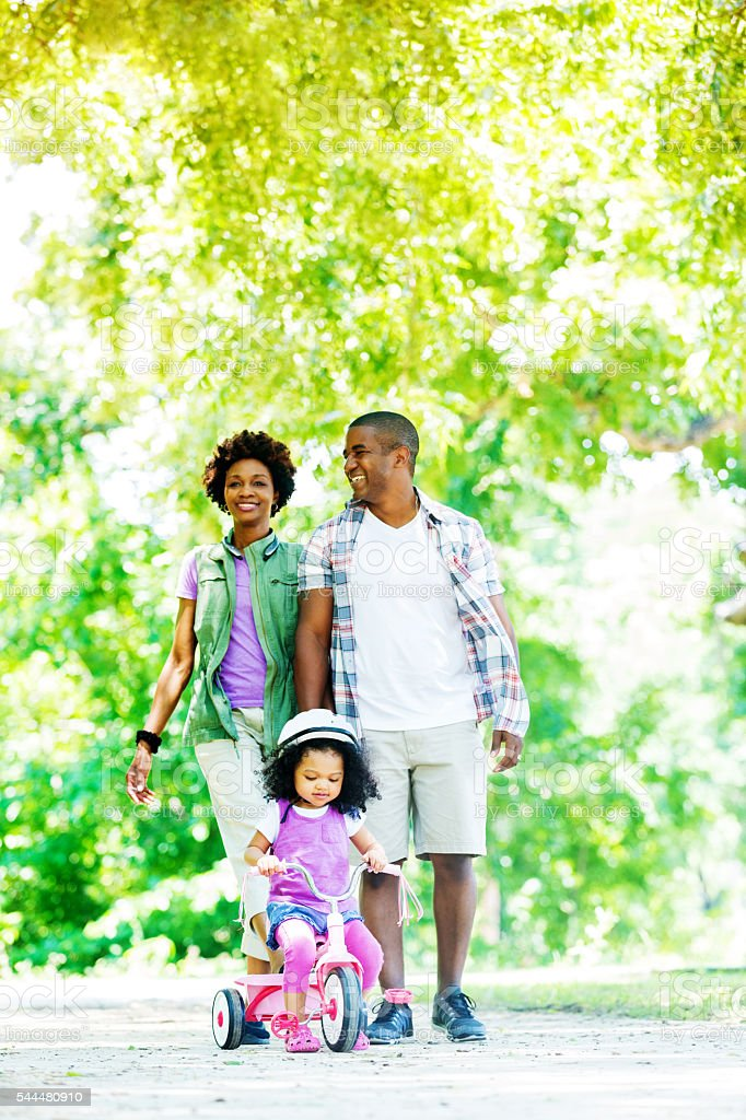 Beautiful African American Family having fun at the park stock photo