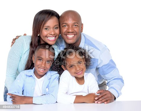 Beautiful African American family looking very happy with a smile - isolated over a white background