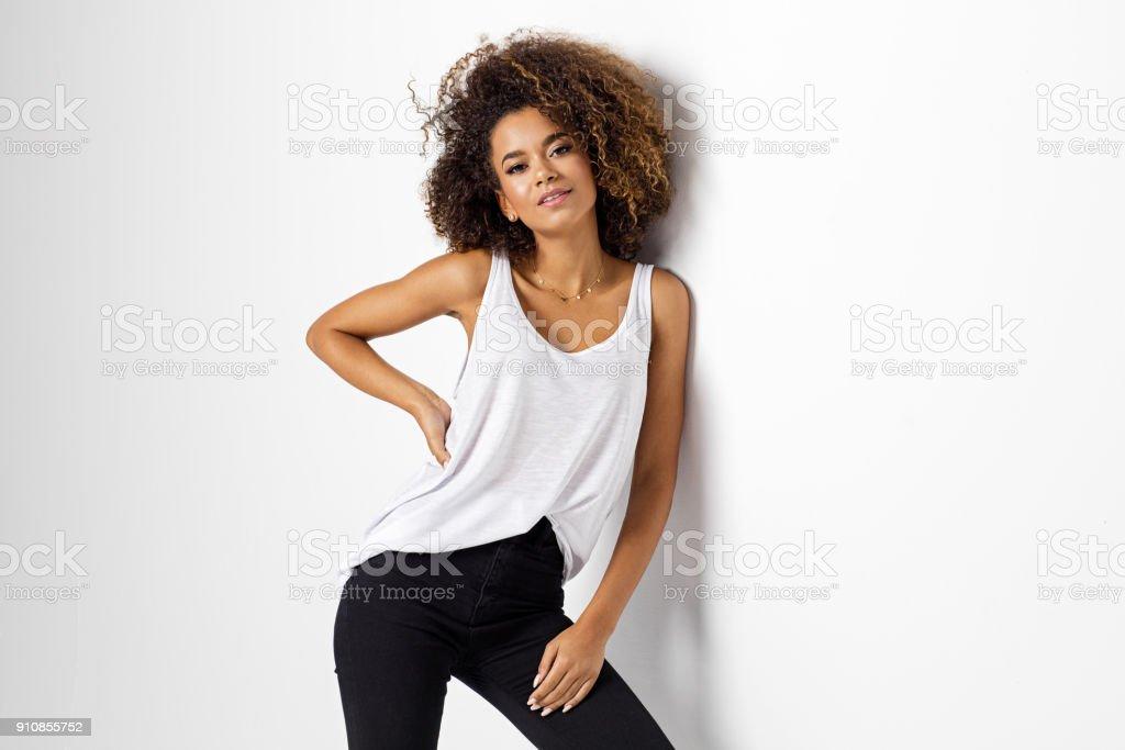 Beautiful african american female model стоковое фото